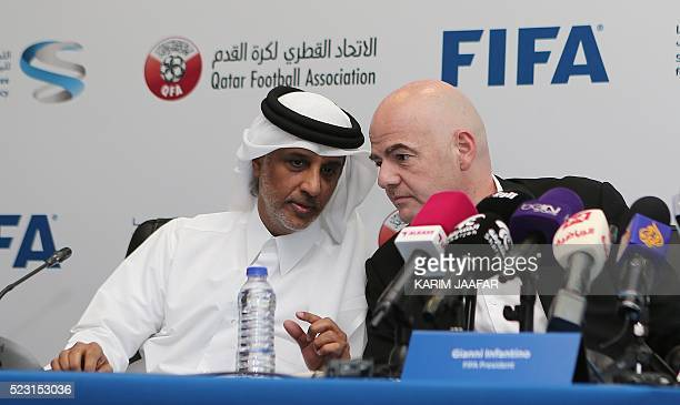President Gianni Infantino and Sheikh Hamad Bin Khalifa Bin Ahmed Al-Thani, President of the Qatar Football Association, speak during a press...