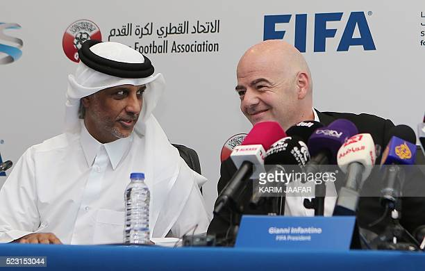 President Gianni Infantino and Sheikh Hamad Bin Khalifa Bin Ahmed AlThani President of the Qatar Football Association speak during a press conference...
