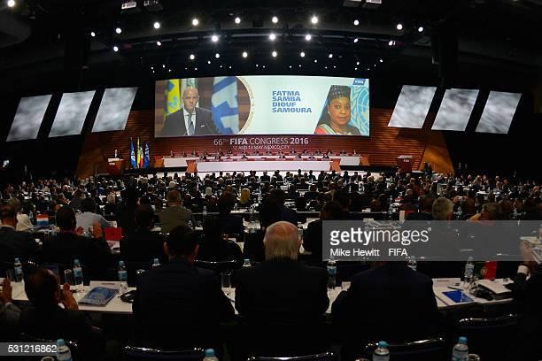 President Gianni Infantino announces his new Secretary General as Fatma Samba Diouf Samoura to the delegates during the 66th FIFA Congress at Centro...