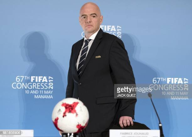President Gianni Infantino arrives at a press conference during the 67th FIFA Congress in the Bahraini capital Manama on May 11 2017 / AFP PHOTO /...