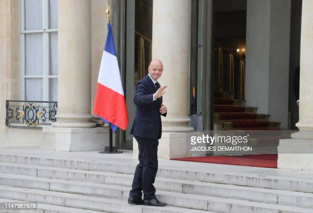 FIFA president Gianni Infantino arrives at Paris' Elysee Palace on June 4 2019 before a ceremony honouring 2018 World Cup winners with Legion...