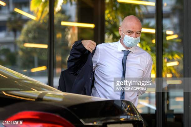 President Gianni Infantino arrives for a UEFA congress, during which in he is expected to deliver his verdict on the European Super League after the...