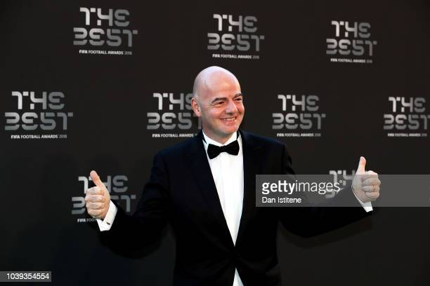 President Gianni Infantino arrives on the Green Carpet ahead of The Best FIFA Football Awards at Royal Festival Hall on September 24 2018 in London...