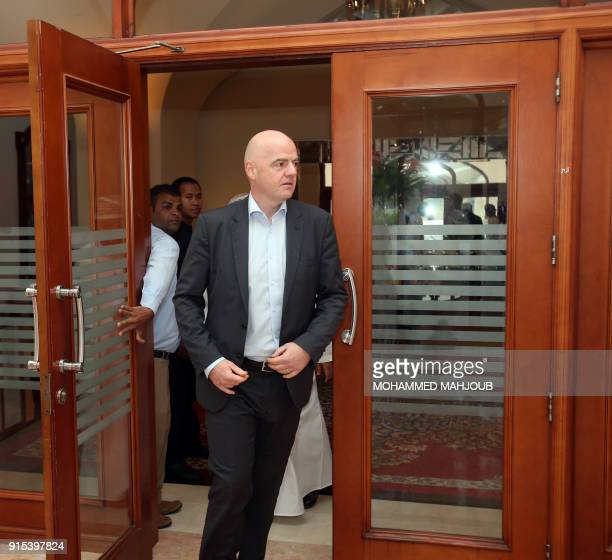 President Gianni Infantino arrives to attend the FIFA Executive Summit in the Omani capital Muscat on February 7 2018 / AFP PHOTO / MOHAMMED MAHJOUB