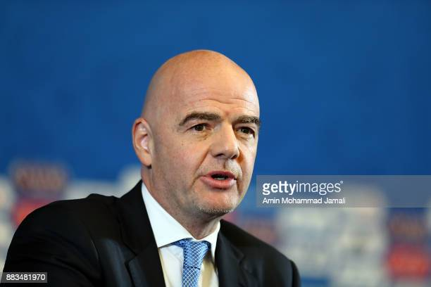 FIFA president Gianni Infantino attends a press conference before the Final Draw for the 2018 FIFA World Cup Russia on December 1 2017 in Moscow...