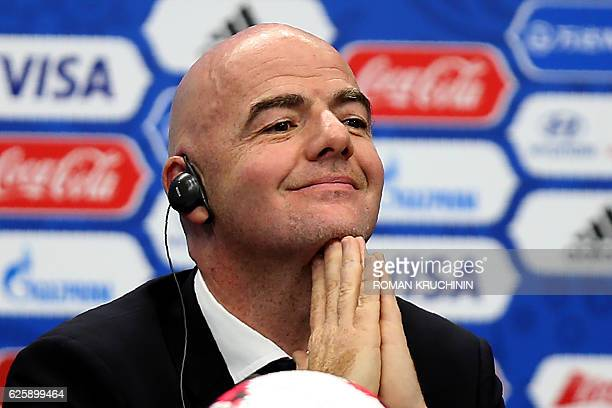 FIFA president Gianni Infantino attends a press conference in Kazan on November 26 ahead of the draw for the 2017 FIFA Confederations Cup / AFP /...