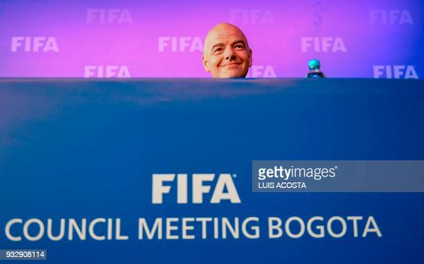 President Gianni Infantino attends a press conference on March 16 2018 in Bogota Colombia after FIFA Council meeting FIFA on Friday approved the...