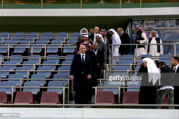 FIFA president Gianni Infantino attends a tour of the Sheikh Jaber AlAhmad International Stadium in Kuwait City on December 6 2017 / AFP PHOTO /...