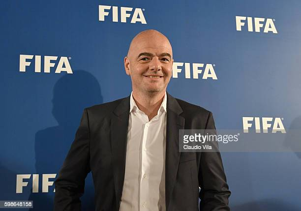 President Gianni Infantino attends FIFA First 'offline' VAR test press conference at Stadio San Nicola on September 2 2016 in Bari Italy