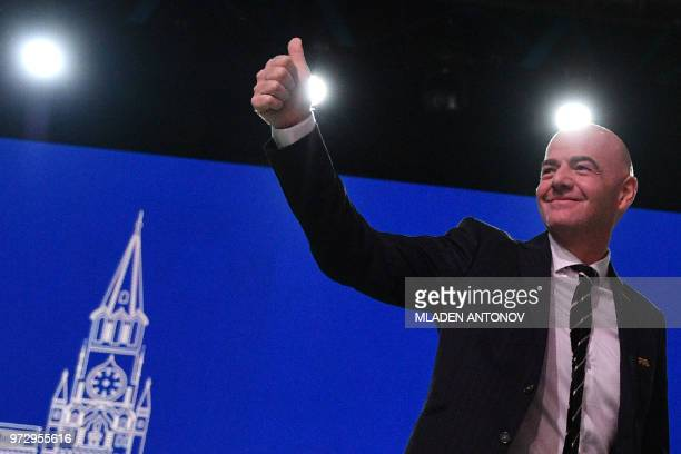 TOPSHOT FIFA president Gianni Infantino attends the 68th FIFA Congress at the Expocentre in Moscow on June 13 2018