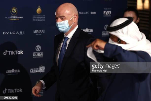 President Gianni Infantino attends the Dubai Globe Soccer Awards at Armani Hotel Dubai on December 27, 2020 in Dubai, United Arab Emirates.