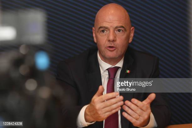 President Gianni Infantino attends the FIGC press conference on September 9, 2020 in Rome, Italy.