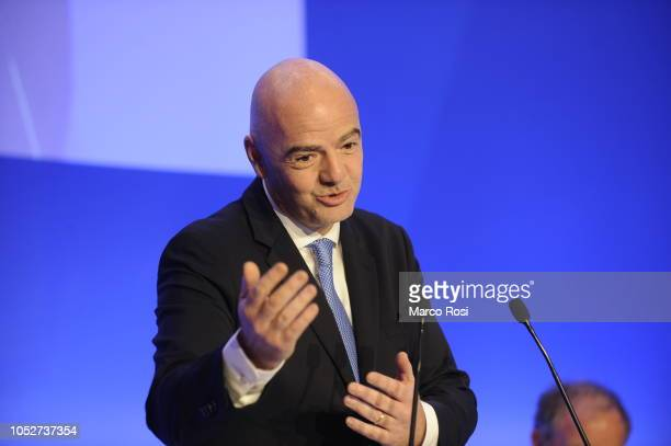 President Gianni Infantino attends the Italian Football Federation elective assembly on October 22 2018 in Rome Italy