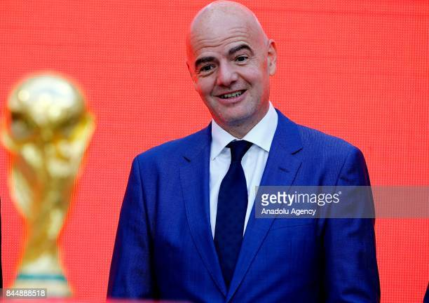 President Gianni Infantino attends the official kickoff ceremony for the 2018 FIFA World Cup Trophy Tour, at Luzhniki Stadium in Moscow, Russia, on...