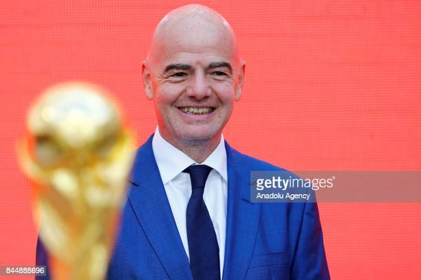 President Gianni Infantino attends the official kickoff ceremony for the 2018 FIFA World Cup Trophy Tour at Luzhniki Stadium in Moscow Russia on...