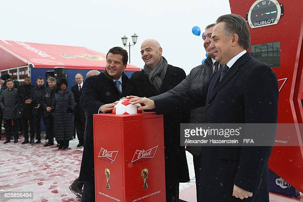 President Gianni Infantino attends with Ilsur Metshin Lord Mayor of Kazan and Vitaly Mutko Minister for Sport and chairman of the LOC and Deputy...
