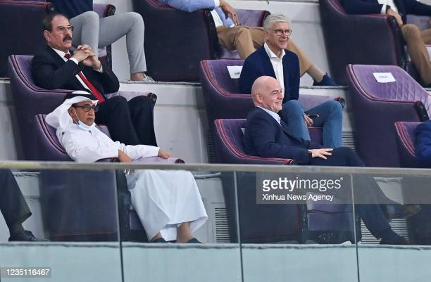 President Gianni Infantino bottom watches the FIFA World Cup qualifier match between Iran and Iraq in Doha, Qatar, Sept. 7, 2021.