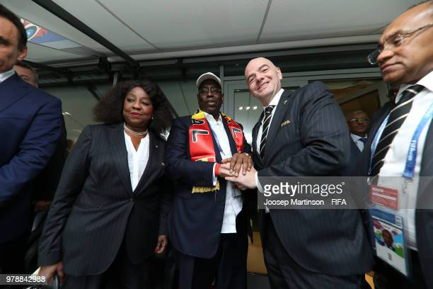 FIFA president Gianni Infantino congratulates Macky Sall president of Senegal following the 2018 FIFA World Cup Russia group H match between Poland...