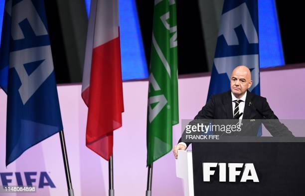 President Gianni Infantino delivers a speech at the 69th FIFA Congress at Paris Expo, Porte de Versailles in Paris on June 5, 2019.