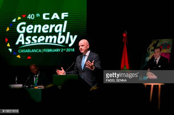 President Gianni Infantino delivers a speech during the 40th CAF ordinary general assembly on February 2 2018 in the Moroccan city of Casablanca /...