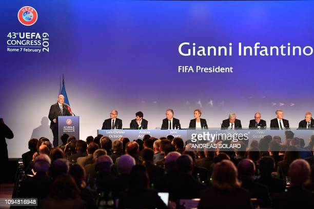 President Gianni Infantino delivers a speech during the 43rd Ordinary UEFA Congress on February 7, 2019 in Rome.