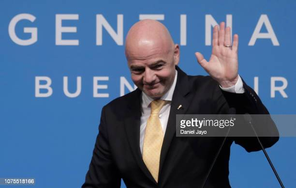President Gianni Infantino during a press conferece during day of sessions of Argentina G20 Leaders' Summit 2018 at Costa Salguero on December 01...