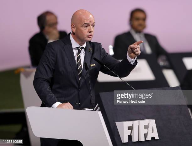 President Gianni Infantino during the 69th FIFA Congress at the Paris Expo Porte de Versailles on June 05, 2019 in Paris, France.