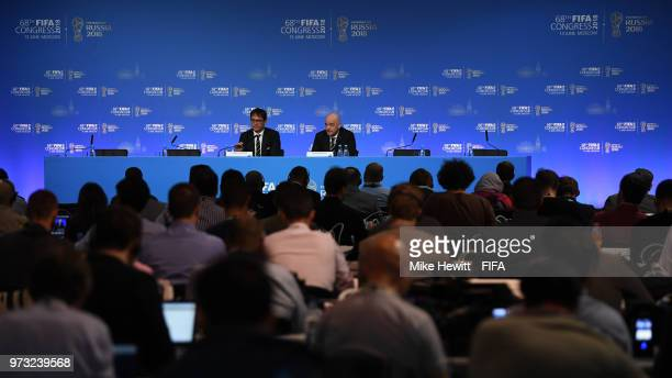 President Gianni Infantino faces the media during a FIFA Congress press conference on June 13 2018 in Moscow Russia