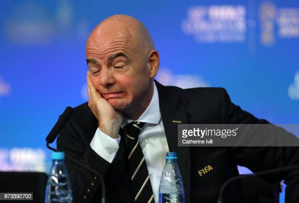 President Gianni Infantino faces the media during the 68th FIFA Congress press conference on June 13 2018 in Moscow Russia