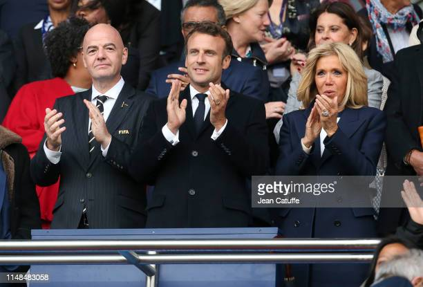 President Gianni Infantino French President Emmanuel Macron and his wife Brigitte Macron attend the 2019 FIFA Women's World Cup France group A match...