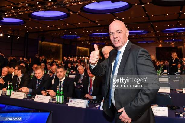 President Gianni Infantino gestures during the 43rd Ordinary UEFA Congress on February 7, 2019 in Rome.