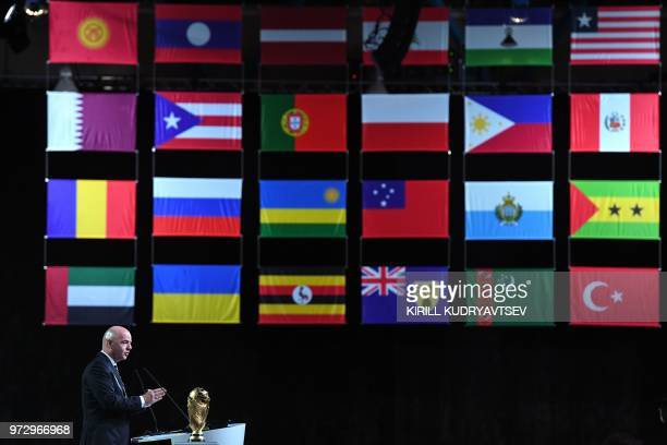 FIFA president Gianni Infantino gives a speech during the 68th FIFA Congress at the Expocentre in Moscow on June 13 2018