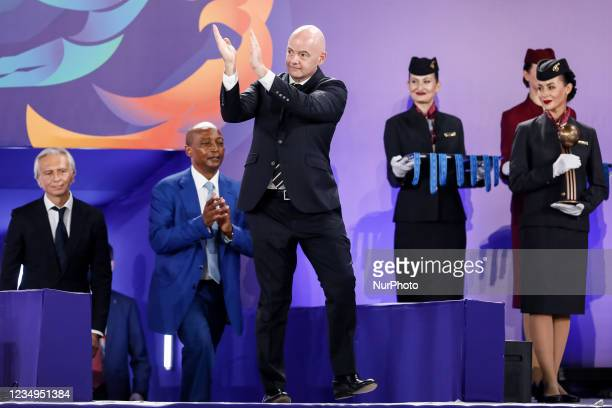 President Gianni Infantino greets the audience during the prize-giving ceremony of the FIFA Beach Soccer World Cup Russia 2021 on August 29, 2021 at...