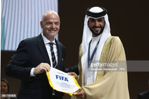 President Gianni Infantino hands over the FIFA penant to HRH Shaikh Nasser Bin Hamad Al Khalifa His Majesty the King`s Represantative for Charity and...