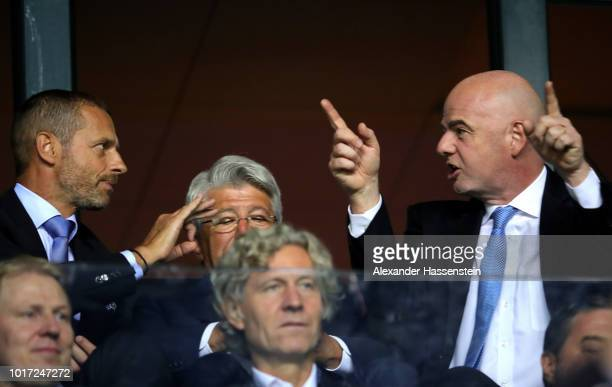 President Gianni Infantino in conversation with UEFA President Aleksander Ceferin during the UEFA Super Cup between Real Madrid and Atletico Madrid...