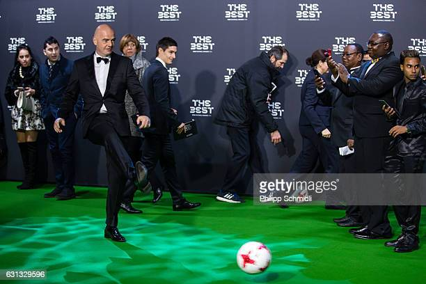 FIFA president Gianni Infantino kicks the ball on the Green Carpet prior to The Best FIFA Football Awards 2016 on January 9 2017 in Zurich Switzerland