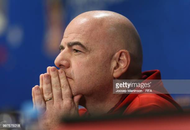 President Gianni Infantino looks on at a press conference during the 2018 FIFA World Cup at Luzhniki Stadium on July 13 2018 in Moscow Russia
