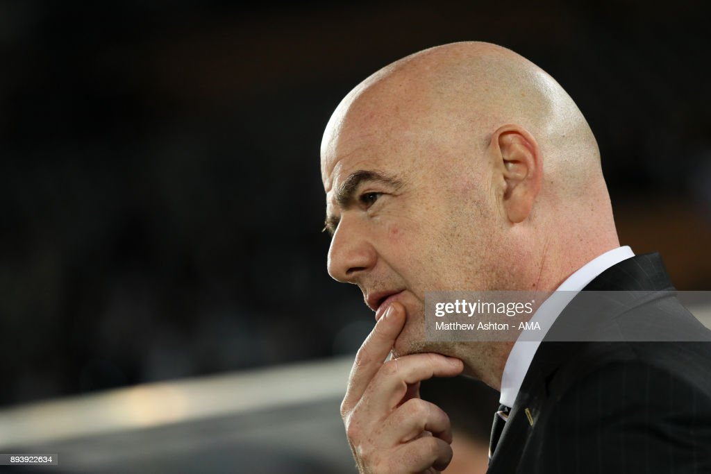 President Gianni Infantino looks on at the end of the FIFA Club World Cup UAE 2017 final match between Gremio and Real Madrid CF at Zayed Sports City Stadium on December 16, 2017 in Abu Dhabi, United Arab Emirates.