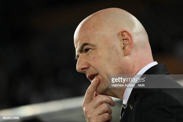 President Gianni Infantino looks on at the end of the FIFA Club World Cup UAE 2017 final match between Gremio and Real Madrid CF at Zayed Sports City...