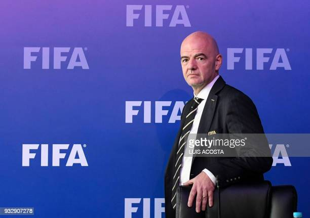 President Gianni Infantino looks on before a press confernce on March 16 2018 in Bogota Colombia after FIFA Council meeting FIFA on Friday approved...