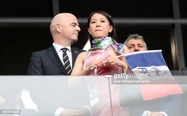 FIFA president Gianni Infantino looks on during the 2018 FIFA World Cup Russia Quarter Final match between Uruguay and France at Nizhny Novgorod...