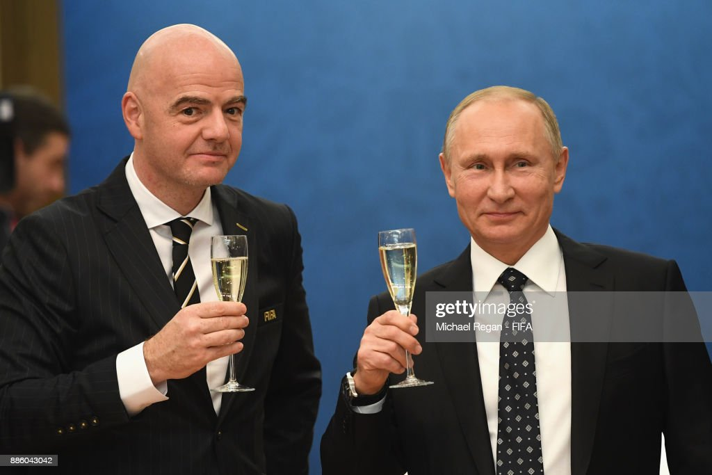 President, Gianni Infantino looks on with Vladimir Putin, President of Russia prior to the Final Draw for the 2018 FIFA World Cup Russia at the State Kremlin Palace on December 1, 2017 in Moscow, Russia.