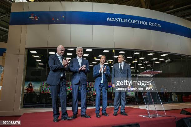 FIFA president Gianni Infantino Mayor of Moscow Sergey Sobyanin Chairman of the LOC Arkady Dvorkovich and President of Crocus Group Aras Agalarov...