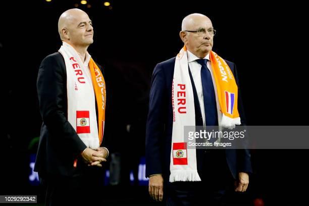 President Gianni Infantino, Michael van Praag during the International Friendly match between Holland v Peru at the Johan Cruijff Arena on September...