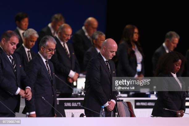 President Gianni Infantino observes a minutes silence during the 68th FIFA Congress at the Moscow Expocentre on June 13 2018 in Moscow Russia