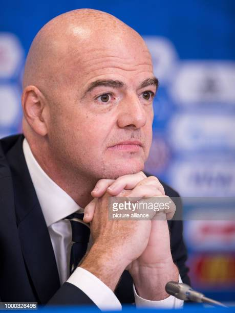 President Gianni Infantino photographed during the final press conference of FIFA at the World Cup Arena in Saint Petersburg Russia 1 July 2017...