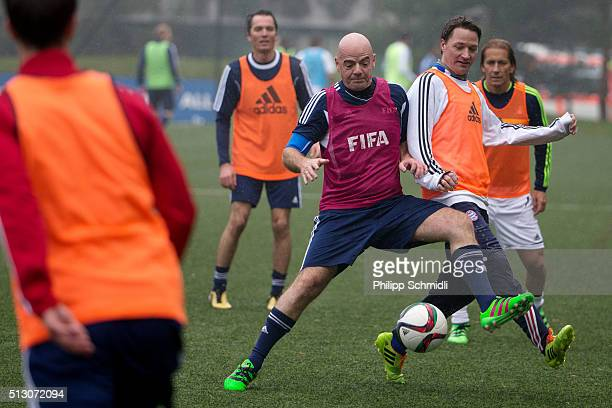 President Gianni Infantino plays the ball during a FIFA Team Friendly Football Match at the FIFA headquarters on February 29 2016 in Zurich...