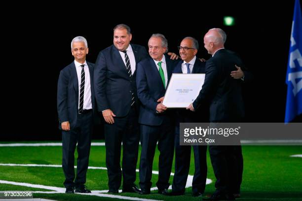 FIFA president Gianni Infantino poses with the United 2026 bid officials Sunil Gulati president of the United States Soccer Federation CONCACAF...