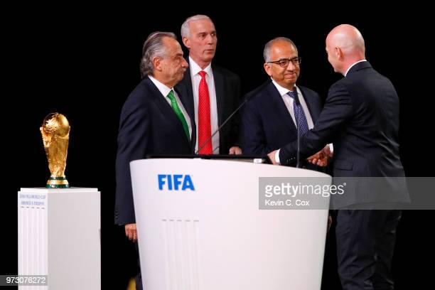 FIFA president Gianni Infantino poses with the United 2026 bid officials LeftRight president of the Mexican Football Association Decio de Maria...