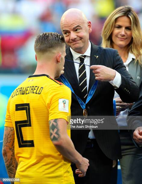 FIFA President Gianni Infantino presents third place medal to Toby Alderweireld of Belgium after the FIFA 2018 World Cup Russia Playoff for third...